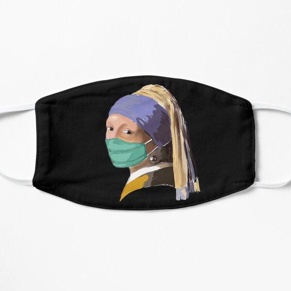Mädchen mit dem Mundschutz - Corona Motiv Flache Maske