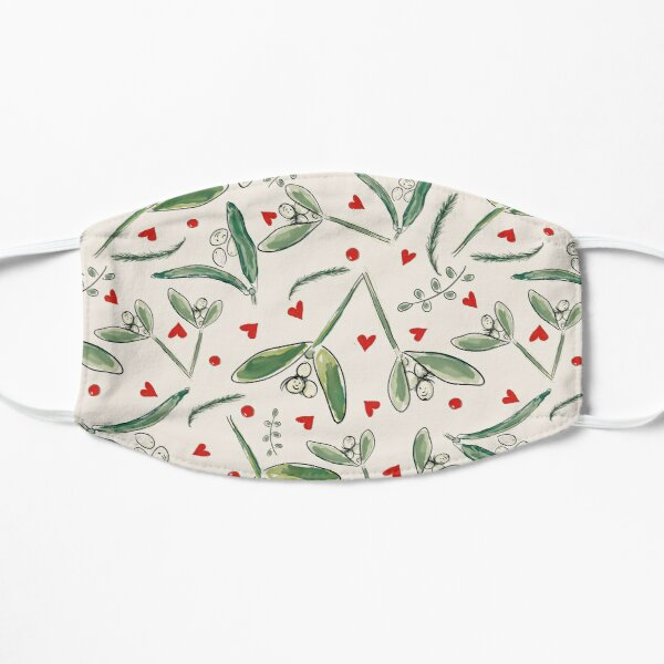 Mistletoe Mischief: Hearts and Berries  Whimsical Christmas/Winter Design Flat Mask