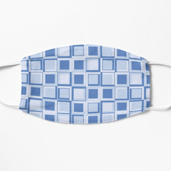 Blue 70's year styling squares Flat Mask