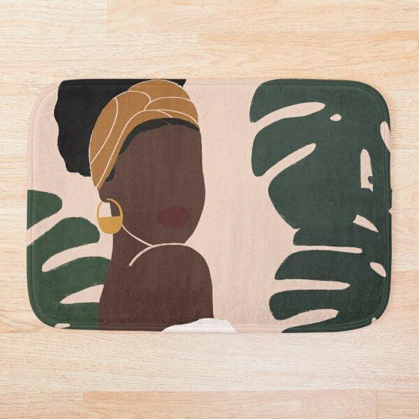 Black Woman Monstera leaves Tropical Bath Mat