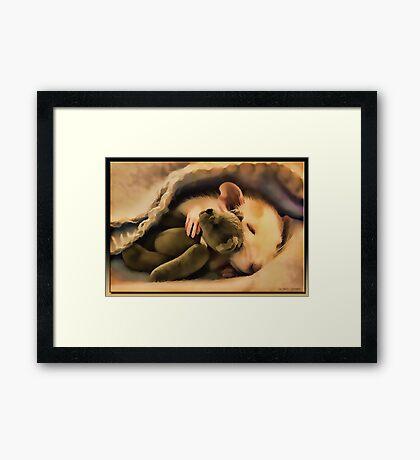 Sleepy Time in Oil Framed Print