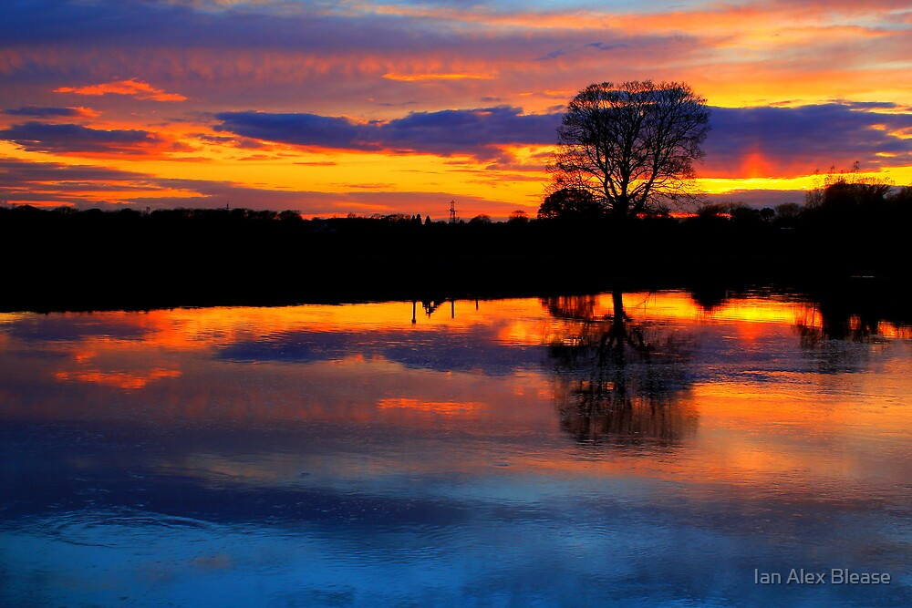 April Sunset over the River Tees, at Broken Scarr. by Ian Alex Blease