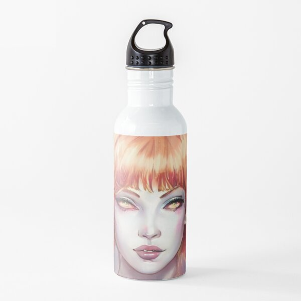 Red hair green eyes witch artbreeder portrait Water Bottle