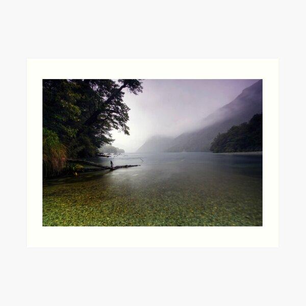 Lake Gunn in the Rain Art Print