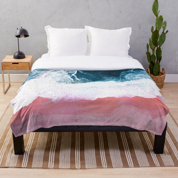 Aerial Beach, Ocean Waves Throw Blanket