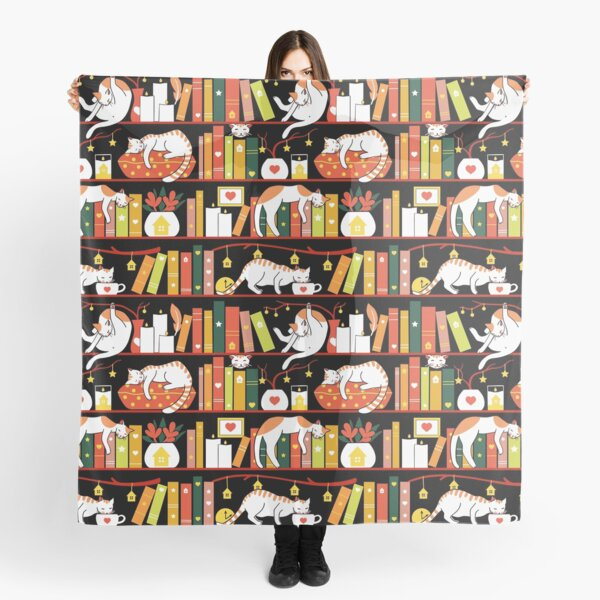 Library cats - autumn colour version  Scarf