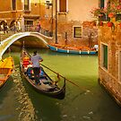 A Gondola Sailing along in the Narrow Canal of Venice, Italy by Daniel H Chui