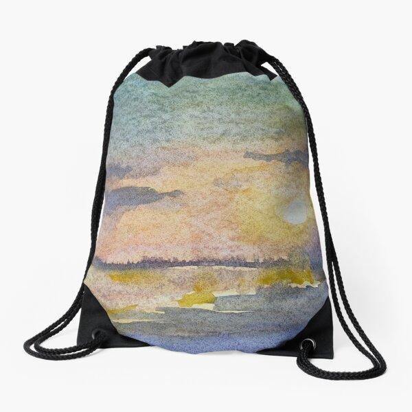 Watercolor Sunset at the Beach  Drawstring Bag