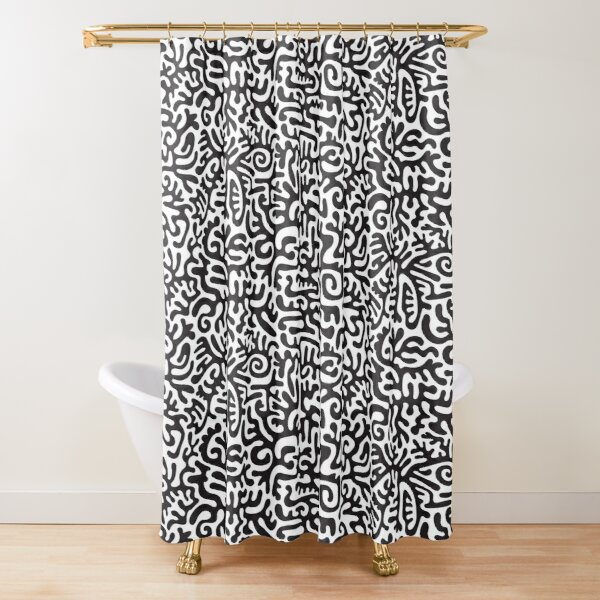 Doodled cutouts Shower Curtain