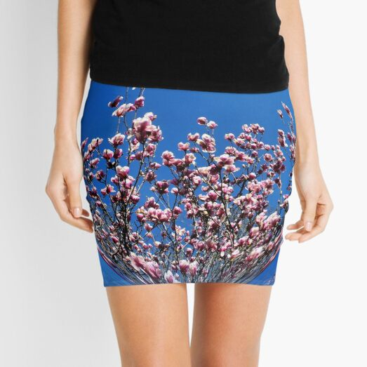Pink Magnolia Flower Blossoms Abstract Nature Art Mini Skirt