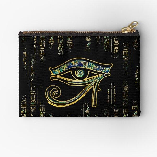 Ojo egipcio de Horus en jeroglíficos de oro y mármol Bolsos de mano