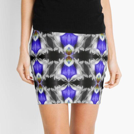 Blue Gentian Flower Abstract Art Mini Skirt