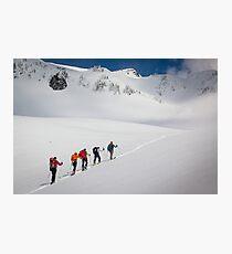 Mount Rainier Snowshoers Photographic Print