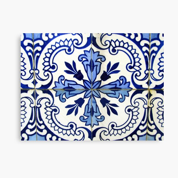Blue and white patterned azulejos, Porto Canvas Print