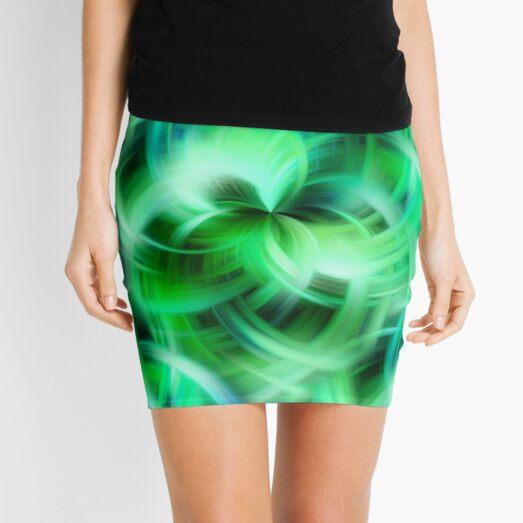 Vibrant Shades Of Green Swirls Abstract Mini Skirt
