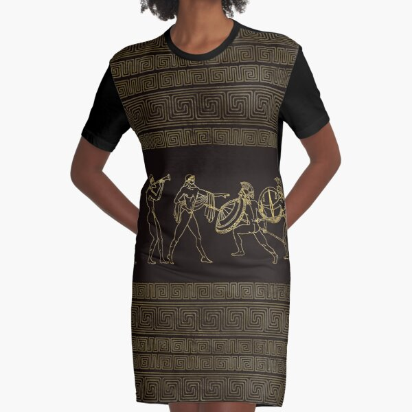 Ancient Sparta  Greece scene on greek pattern Graphic T-Shirt Dress