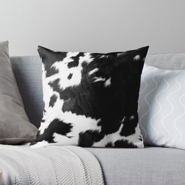 Modern Cowhide Faux Leather Throw Pillow