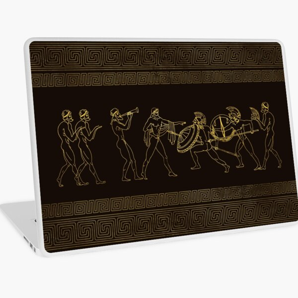 Ancient Sparta  Greece scene on greek pattern Laptop Skin