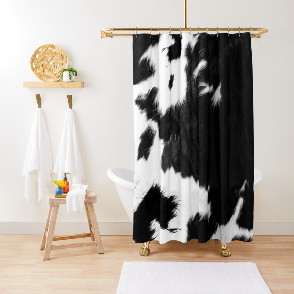 Modern Cowhide Faux Leather Shower Curtain