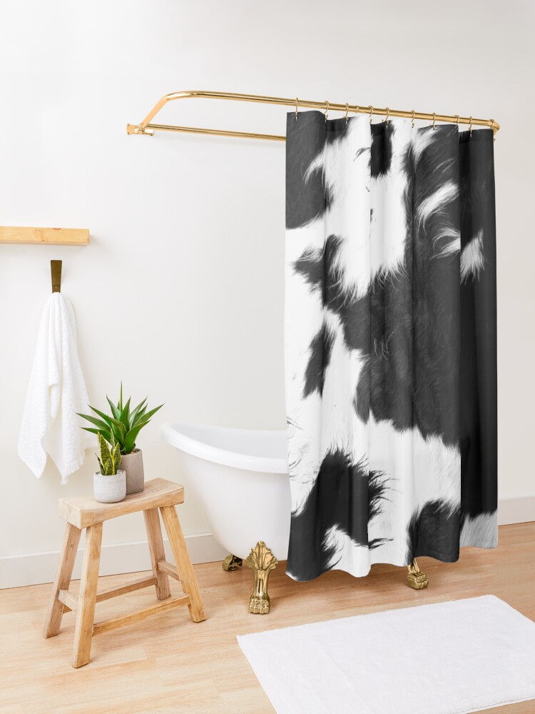 Alternate view of Modern Cowhide Faux Leather Shower Curtain