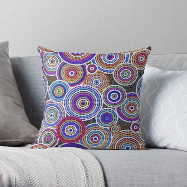 Colorfull Aboriginal Dot Art Pattern Throw Pillow