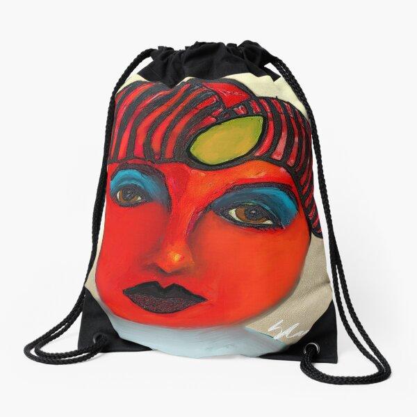 Red Tomato Face Drawstring Bag