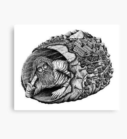 Diogenes surreal pen ink black and white drawing Canvas Print