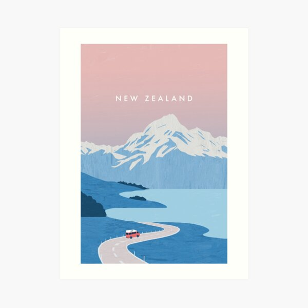 Neuseeland Travel Poster Kunstdruck