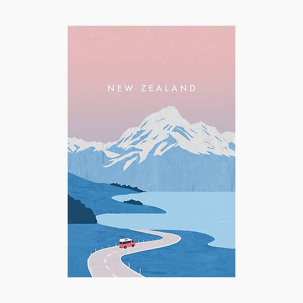 New Zealand travel poster Photographic Print