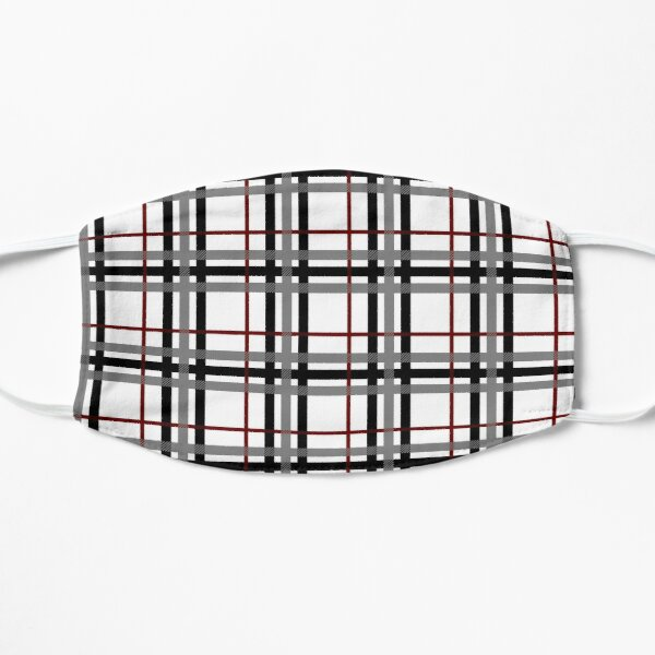 Black White and Red Plaid Mask