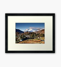 Snow on the Langdale Pikes from Elterwater Village Framed Print