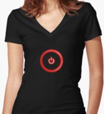 Red Power Button Women's Fitted V-Neck T-Shirt