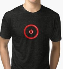 Red Power Button Tri-blend T-Shirt