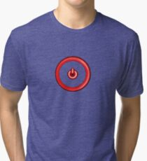 Red Power Button Tri-blend T-Shirt