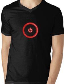 Red Power Button Mens V-Neck T-Shirt