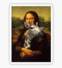 Mona Lisa Loves Giraffes Sticker