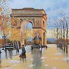 The Arc De Triomphe from Eugene Galien Laloue 1890 by Jsimone