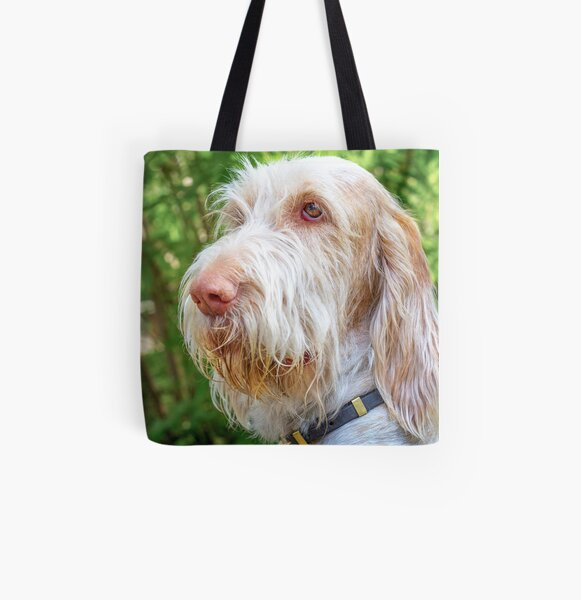 Orange and White Italian Spinone Dog Head Shot All Over Print Tote Bag