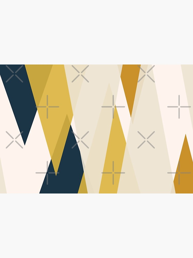 Triangular Abstract in Mustard Yellows, Navy Blue, and Blush Tones. Minimalist Geometric by kierkegaard