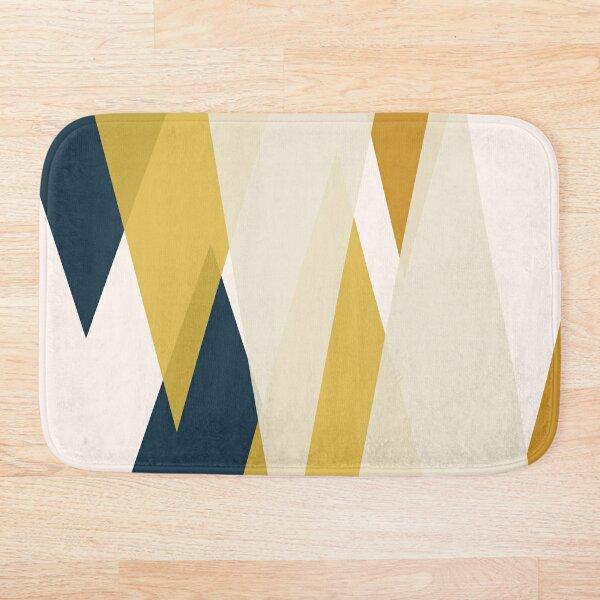 Triangular Abstract in Mustard Yellows, Navy Blue, and Blush Tones. Minimalist Geometric Bath Mat