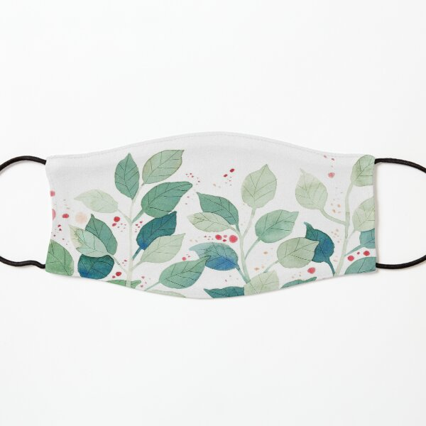 Green Nature Leaves | Simple Watercolor Pattern Kids Mask