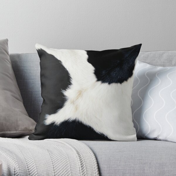 Cowhide in Black and White Throw Pillow