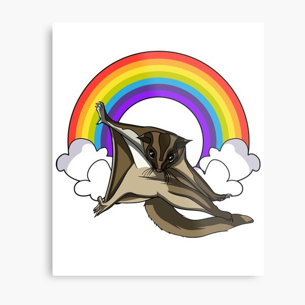 Sugar Glider Rainbow  Metal Print