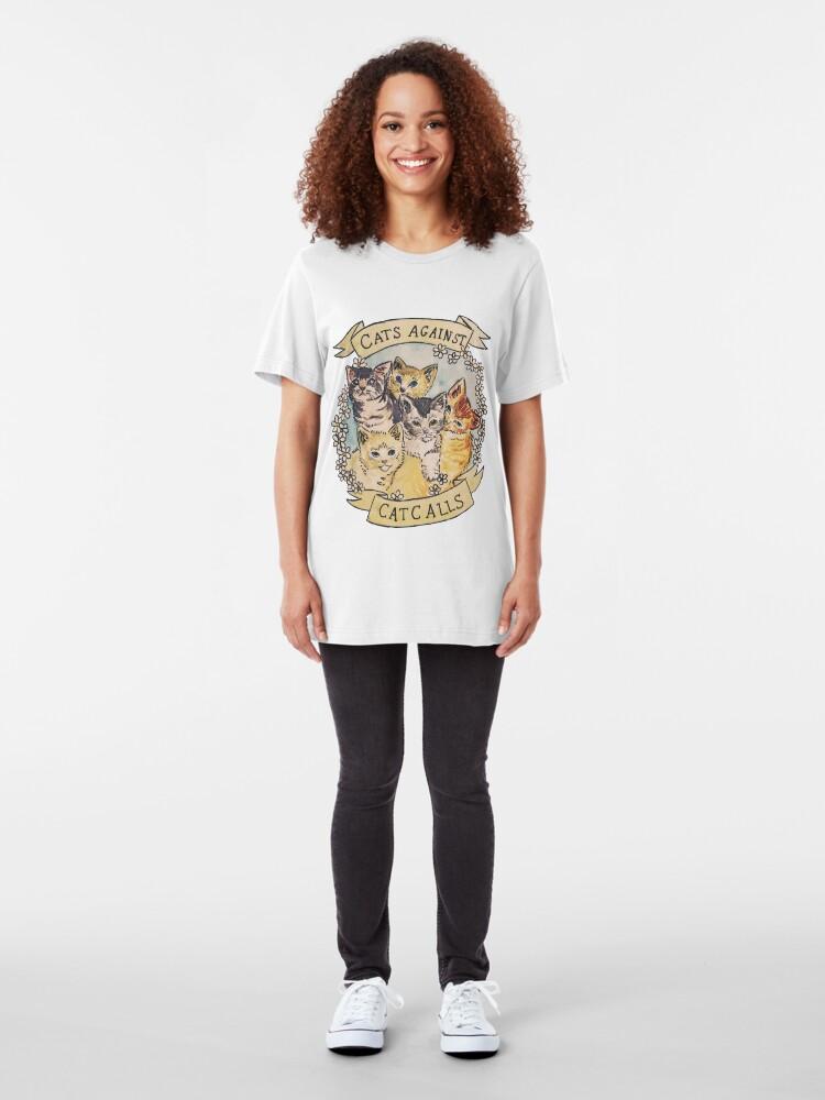 Alternate view of Cats Against Cat Calls Slim Fit T-Shirt