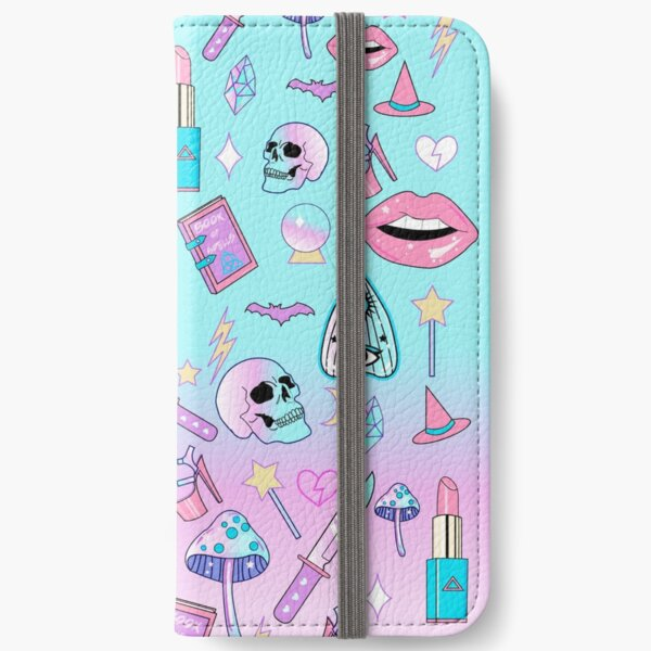 Girly Pastel Witch Goth Pattern iPhone Wallet