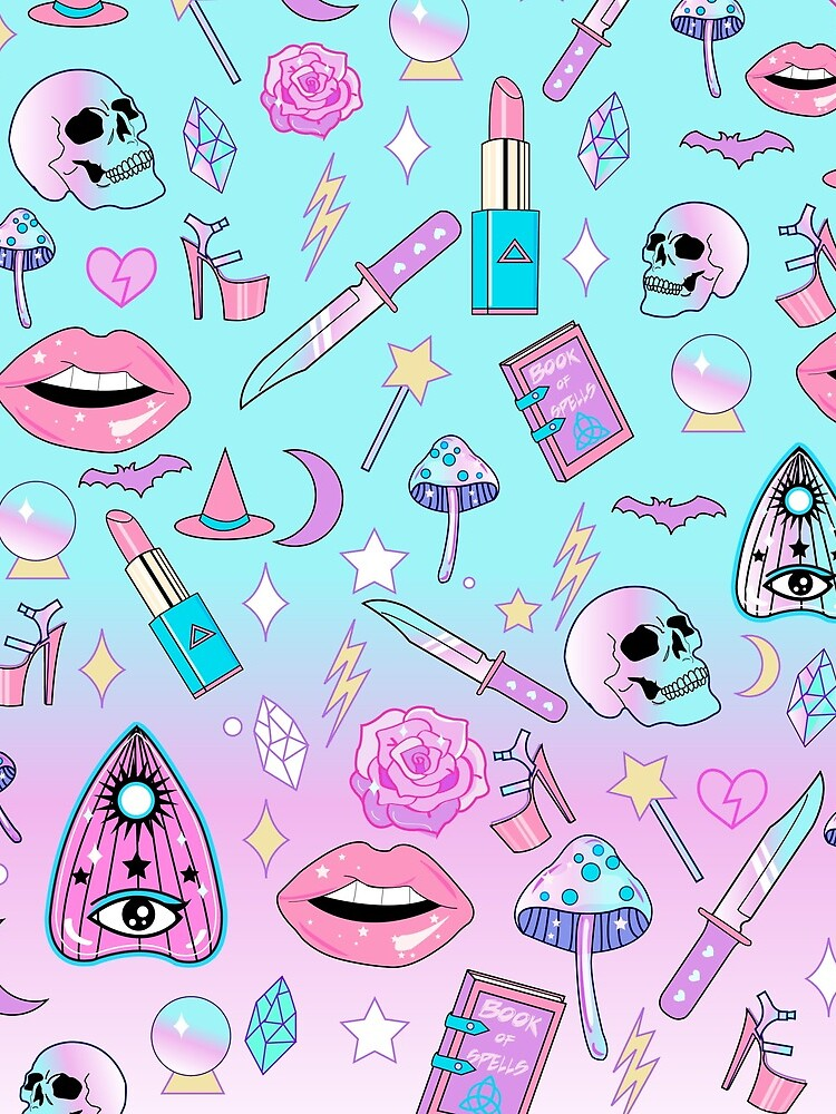 Girly Pastel Witch Goth Pattern by lunaelizabeth