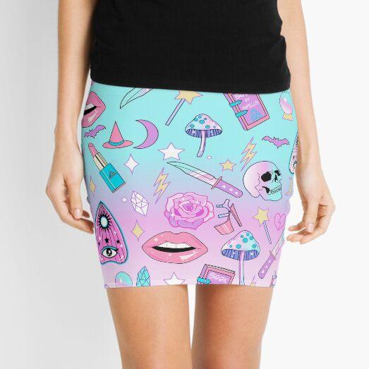 Girly Pastel Witch Goth Pattern Mini Skirt
