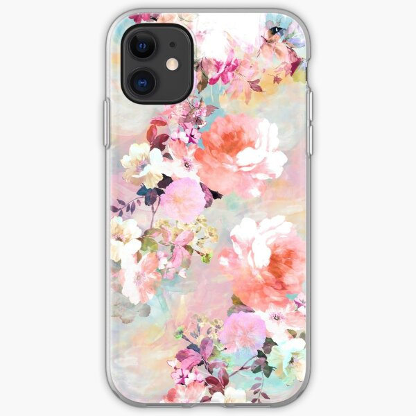 Romantic Pink Teal Watercolor Chic Floral Pattern iPhone Soft Case