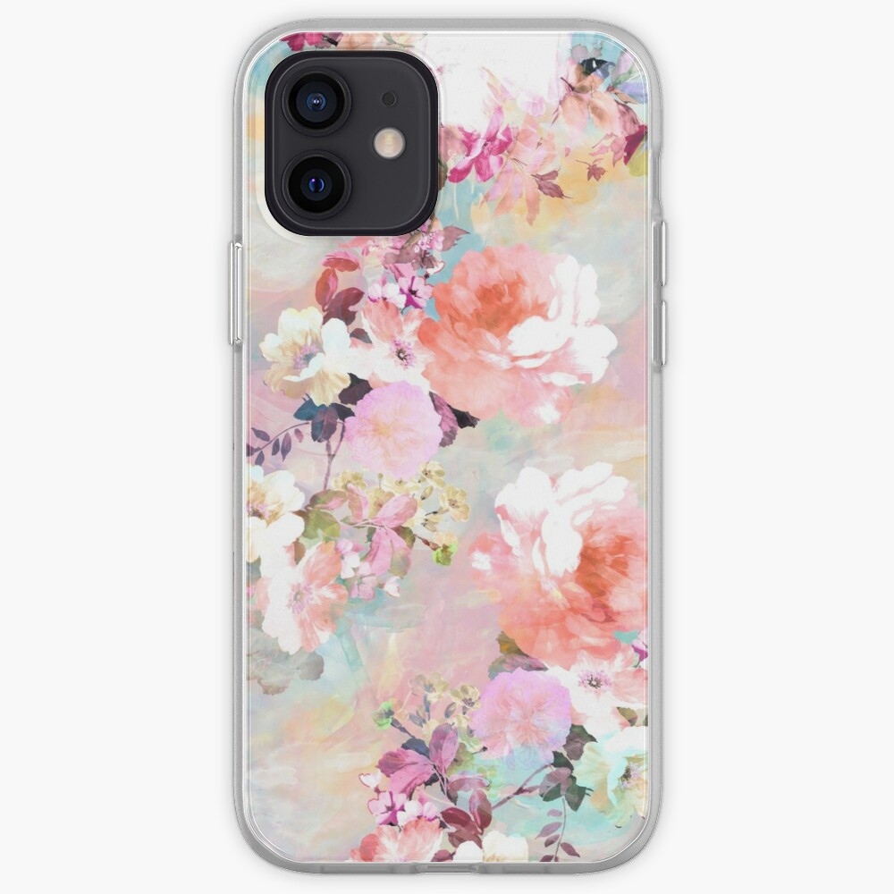 Romantic Pink Teal Watercolor Chic Floral Pattern iPhone Case & Cover