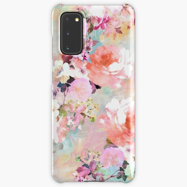 Romantic Pink Teal Watercolor Chic Floral Pattern Samsung Galaxy Snap Case
